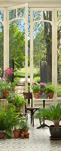 Plage 141024 adesivo per pareti e porte, formato grande, trompe l'oeil porta-giardino d'inverno, 204 x 83 cm