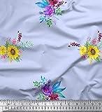 Soimoi Blau Seide Stoff Sonnenblumen und Pfingstrosen