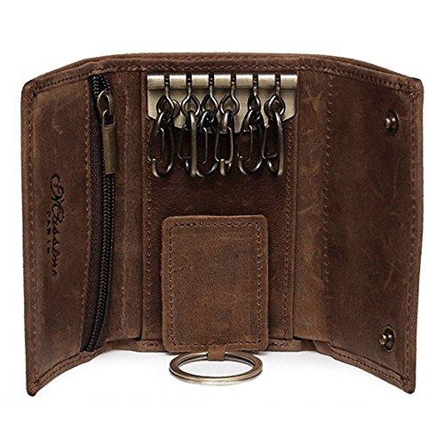 BestFire Slim Compact Leder Schlüsselhalter Geldbörse Tasche Retro Echt Leder Handgefertigte Drei-Fold Schlüsselanhänger Schlüsseltasche Tasche Leder Auto Schlüssel Fall (Taschen Geldbörsen Handgefertigte)