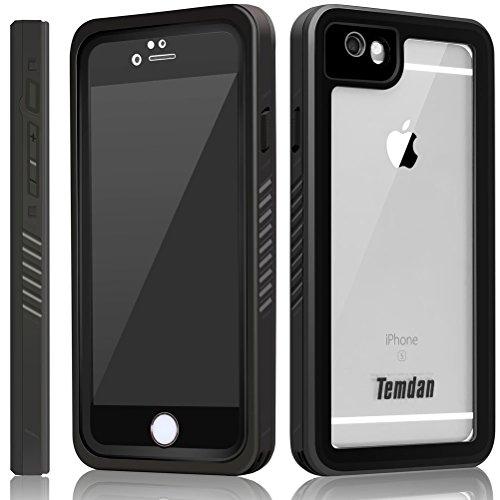 Temdan iPhone 6s/6 Wasserdichte Hülle mit Ständer und Schwimmgurt bis zu 33ft/10m Wasserdicht Hülle für iPhone 6s/6 (4,7 Zoll) (Schwarz) (Hinten Stand Standard)