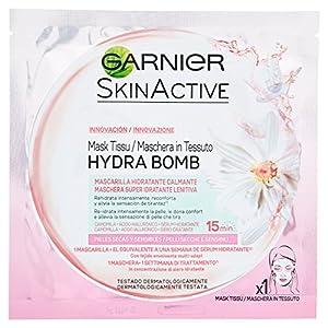 Garnier Hyaluron Shot, Mascarilla antiestrés relajante para la cara – 33 gr, 4 unidades