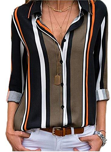 Minetom Streifen Bluse Damen Hemd Gestreift Oberteile V-Ausschnitt Lose Casual Chiffon Langarm T-Shirt Top Tunika Elegant Langarmshirt Schlank Blusen C Schwarz DE 40