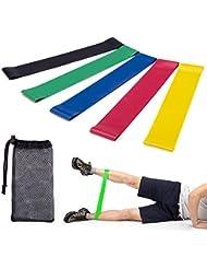 Bande Elastique Fitness,Lypumso Bandes élastiques Bandes de Résistance Yoga Ruban de Gymnastique Bandes d'exercice Bande élastique 5 Pièces Qualité Supérieure Exercices D'étirements
