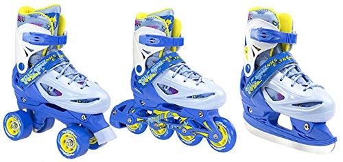 Inline Skates Kinder | NILS| Inliner 3in1 | Verstellbare Schlittschuhe Rollschuhe Größenverstellbar | Pink- Blau -Gelb | Größen 27-38 (Blau, 35-38)
