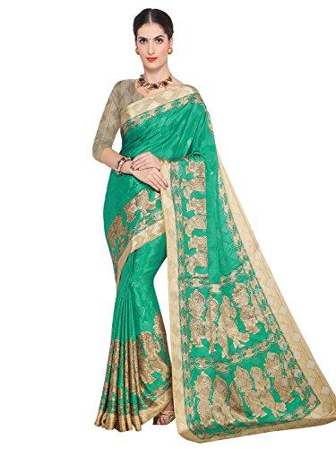 Kanchnar Women's Green Beige Crepe Self Jacquard, Printed Saree