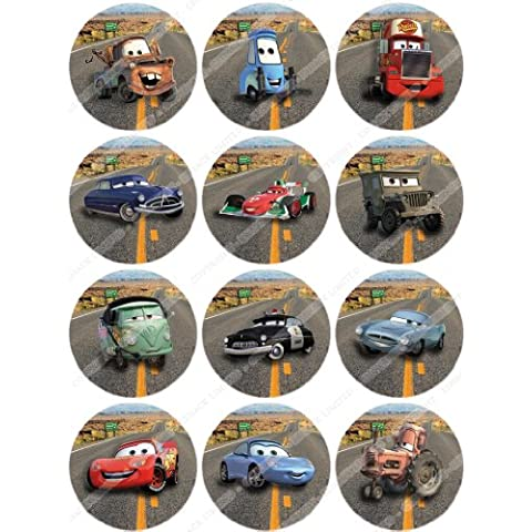 Cakeshop 12 x PRE-TAGLIATE Topper Torte Commestibili Disney Cars