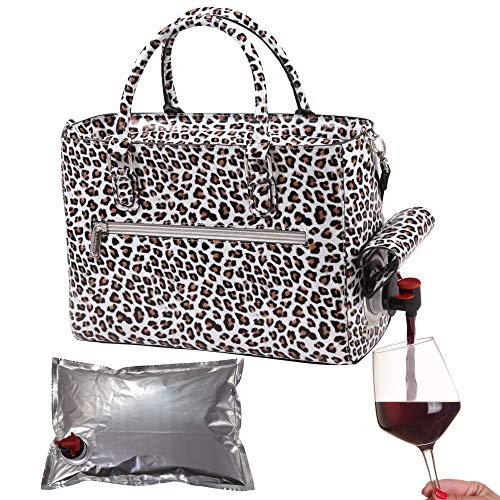 Faux-leder-snap (PrimeWare Isolierter Getränke-Geldbeutel mit 3 l Blasentasche, Thermo-Aufbewahrung für warm und kalt, tragbarer Getränkespender für Wein, Cocktails, Bier, Alkohol, PU-Leder-Finish White Cheetah)