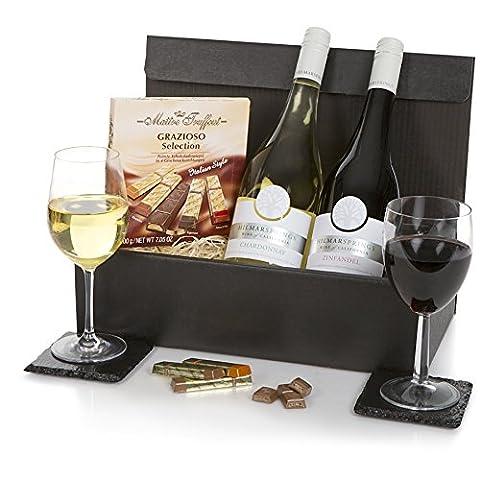Präsentkorb mit kalifornischen Weinen & Schokoladen auf italienische Art -