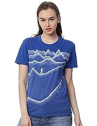 Wolfpack Journey up The Mountain Roud Neck Short Sleeve 100% Cotton Royal Blue Girls/Womens T-Shirt for Adventurous Folk