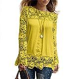 ESAILQ Damen Basic V-Ausschnitt Kurzarm T-Shirt Falten Tops mit Knopf(XL,Gelb)