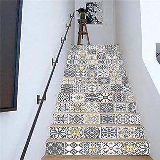 3D pegatinas de escaleras extraíbles a prueba de agua, calcomanía – Creativo simple trece cuadrícula gris calcomanías de escaleras romanas calcomanías de escaleras calcomanías de pared