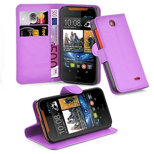 Cadorabo Hülle für HTC Desire 310 Hülle in Mangan Violett Handyhülle mit Kartenfach und Standfunktion Case Cover Schutzhülle Etui Tasche Book Klapp Style Mangan-Violett