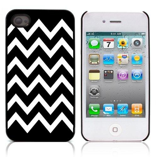 Graphic4You Chevron Muster Harte Hülle Case Tasche Schutzhülle für Apple iPhone 4 und 4S (Gelb) Schwarz