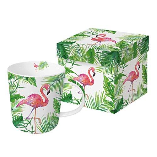 PPD Tropical Flamingo Trend Kaffeebecher, Kaffeetasse, Kaffee Becher, Bone China, Weiß / Grün /...