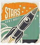 ABAKUHAUS Vintage Cortina de Baño, Las Estrellas No Pueden Esperar Comercial Retro con Cohete Lanza tu Negocio Imagen, Material Resistente al Agua Durable Estampa Digital, 175 x 200 cm