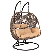 Wido Rattan Double Swinging Egg Chair Hanging Cushion Garden Patio Outdoor Furniture Hammock
