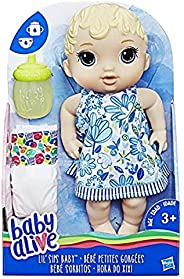 Baby Alive Lil' Sips Baby Blonde Hair Doll that Drinks, Wets, with Diaper & Bottle, for Kids Ages 3 Ye