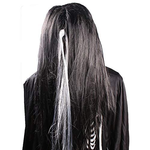 Halloween Ghost Hair Schwarz und Weiß Wig Masquerade Dekoration Requisiten Weiblichen Geist,2