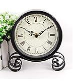 Hongge Kaminuhren,Eisen, Retro Uhr Runde sitzen Pendel Stück 18,5 * 15 * 4 cm