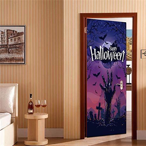 3D Türaufkleber Monster In Der Dunkelheit, Halloween, Kreative Türaufkleber, Holztüren, Inneneinrichtungswandaufkleber 77x200cm