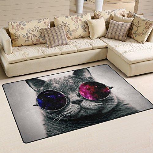 Naanle Hippie Funny Cat rutschfeste Bereich Teppich für Living Eßzimmer Schlafzimmer Küche, 50x 80cm (1,7'X 2,6FT), Tier Katze Kinderzimmer Teppich Boden Teppich Yoga Matte Hippie Cat