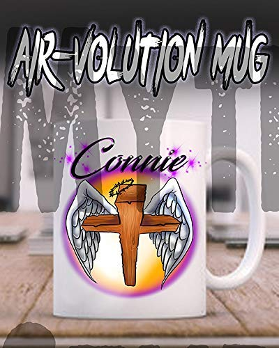 Mythic Airbrush Personalisierte Airbrushed Angel Wings Christian Kreuz Keramik-Kaffeetasse Weiß