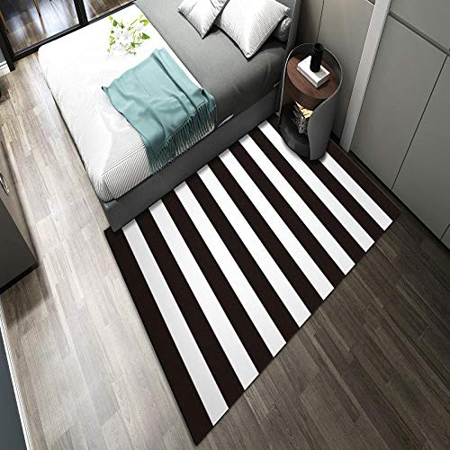 Zuonuoo La Alfombra habitación de los Niños Dormitorio, Alfombra Antideslizante en Blanco y Negro, Alfombra geométrica a Rayas de Dos Colores. Alfombra Lavable 60X90CM