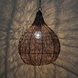 #10: Homesake Classic Twisted Wire Crown Hanging Pendant Light, Antique Copper Hanging Fixture Lamp