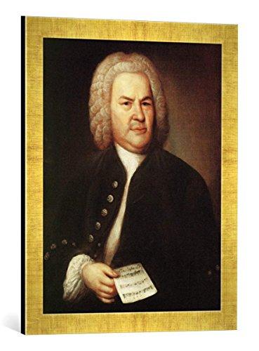 Gerahmtes Bild von Elias Gottlob Haußmann Johann Sebastian Bach, Kunstdruck im hochwertigen handgefertigten Bilder-Rahmen, 40x60 cm, Gold Raya