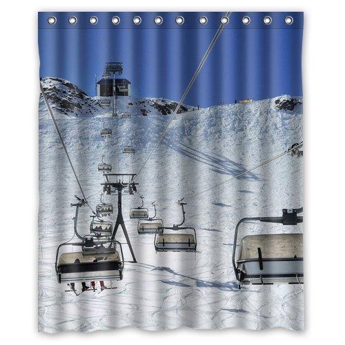 Aqua Lift Bad (CHATAE Ski Lift Hintergrund Wasserdicht Vorhang für die Dusche/Bad Curtain-Size: 152,4x 182,9cm)