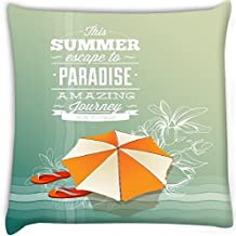 Snoogg Summer Paradise Digitally Printed Cushion Cover Pillow 14 x 14 Inch