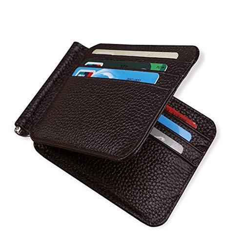 DXL-Men's Bags Herren Leder Brieftasche First Layer Rindsleder Multifunktions Brieftasche Leder kurzen Abschnitt des US Dollar Clip Herrentaschen (Color : Brown, Size : S) (Abschnitt 5 Ordner)