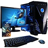 """Vibox Sharp Shooter Package 6 Gaming PC - with Warthunder Game Bundle, 21.5"""" HD Monitor, Gamer Headset, Keyboard & Mouse Set (3.3GHz Intel i5 Quad Core Processor, Nvidia Geforce GTX 750 Graphics Card, 1TB Hard Drive, 8GB RAM, Vibox Tactician Blue LED Case, No Operating System)"""