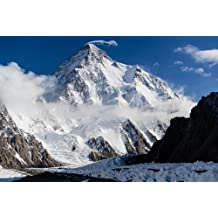 K2SNOW-CAPPED MOUNTAIN poster borders PAKISTAN & CHINA raw nature 24x 36