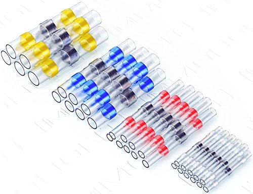 10 Gauge Wiring Kit (Monolit 50Lötverbinder für elektrische Anschlüsse, wasserdicht, für Boote und Automobile, Kabelverbinder-Set, elektrische Draht-Anschlüsse, mit Schrumpfschlauch, Stoßverbinder (20 xrot, 15 xBlau, 10 xweiß, 5x Gelb))