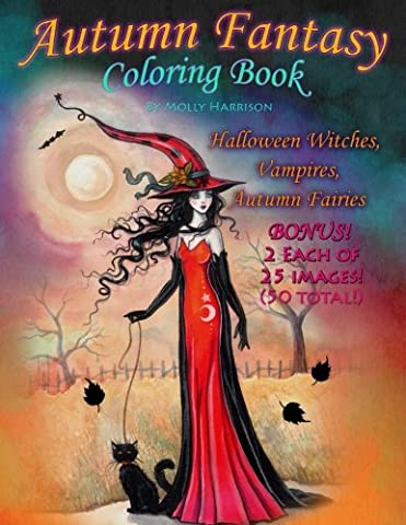 Autumn Fantasy Coloring Book - Halloween Witches, Vampires and Autumn Fairies: Coloring Book for Grownups and All