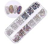 3700 Piezas de Diamantes de Imitación de Espalda Plana de Vidrio Hot Fix Gemas Cristales Redondas 1,5-2.7 MM en Caja de Almacenamiento (Multicolor)