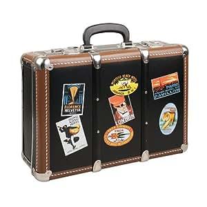 Kazeto 7626467-0040-3180 Valise en carton avec baguettes en bois, coins métalliques et étiquettes vintage Noir 41 x 32 x 15 cm