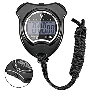 AUPERTO Digital Sport Stopwatch Timer - Digital Professional Handheld Stopwatch with Large LCD Display, Clock Alarm, Calendar