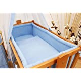 6 Piece Baby Crib Bedding Set (90 x 40) + Terry Fitted Sheet Fits Rocking/Swinging Cradle - (Blue)