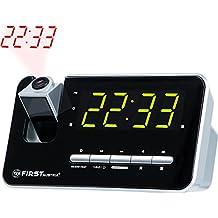 Radio despertador con proyector | pantalla LED de 1,2  atenuable (3 niveles) o apagable | memoria para 10 emisoras | Snooze |  adormecedora | dos alarmas integrados y radio | digital