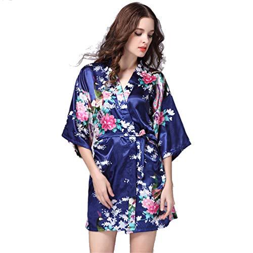 Silk Robe, Satin Hochzeit Braut Robe Large Size Sexy Floral Bademantel Short Nightwear Frauen Pyjamas Kimono,5,S ()