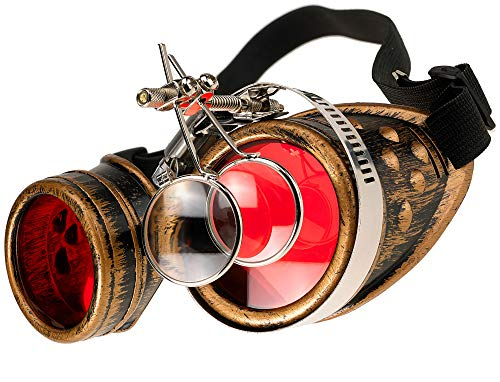 MFAZ Morefaz Ltd Schutzbrille Schweißen Sonnenbrille Welding Cyber Goggles Steampunk Goth Round Cosplay Brille Party Fancy Dress (Gold Loupe)