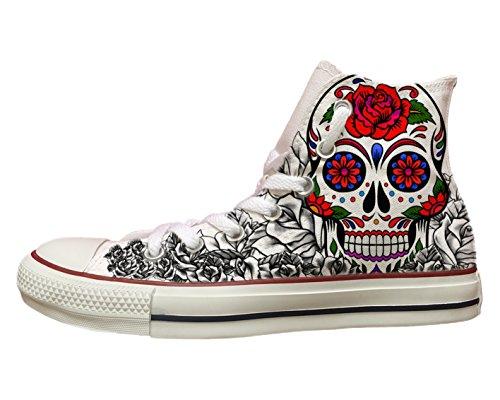 """Converse All Star personalizzate con stampa """"Skull&Roses"""" Bianco"""