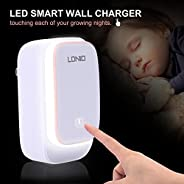 LDNIO A2205 Wall Charger with Multi-Function Night Light and 2 USB Ports