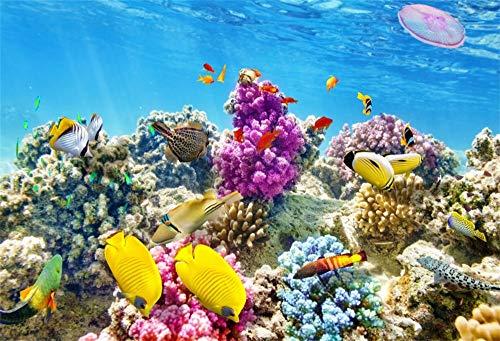 Cassisy 1,5x1m Vinyl Unterseeisch Fotohintergrund Marine Arten Panorama Korallenriff Tropische Fische Fotoleinwand Hintergrund für Fotostudio Requisiten Party Photo Booth Panorama-marine
