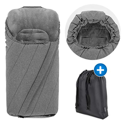 Zamboo Winter Fußsack für Kinderwagen & Buggy - Anti-Rutschschutz, weiches Deluxe Thermo Fleece, warme Mumien-Kapuze & Tasche - Melange Grau