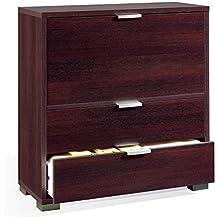 Mueble-bar auxiliar con barra abatible y dos cajones, color wengue, para salones o dormitorios medida 81x84