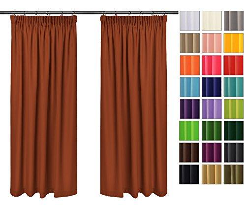 Rollmayer 2er Pack Vorhänge mit Bleistift Kollektion Vivid (Terakotta 7, 135x150 cm - BxH) Blickdicht Uni einfarbig Gardinen Schal für Schlafzimmer Kinderzimmer Wohnzimmer 2 Stück