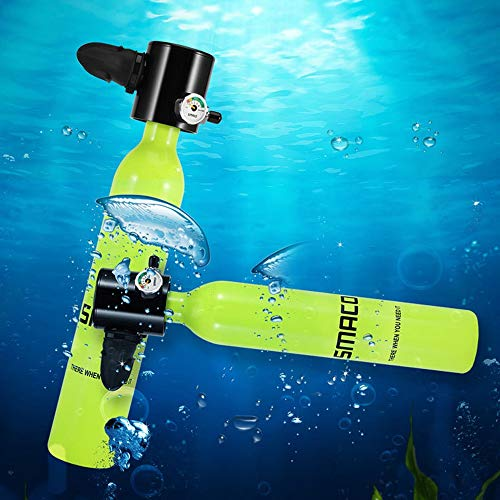 WOTR Cilindro de oxígeno Mini, Equipo de Tanque de Buceo, Adaptador de Tanque de oxígeno de Buceo portátil de 0.5 l para Buceo bajo el Agua Entrenamiento de respiración